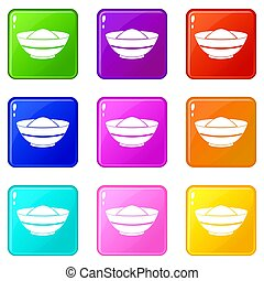 Indian spicy icons 9 set - Indian spicy icons of 9 color set...