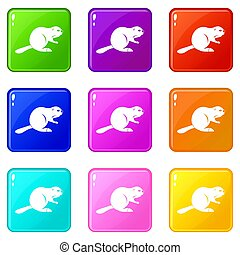 Canadian beaver icons 9 set - Canadian beaver icons of 9...
