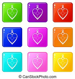 Heart shaped pendant icons 9 set - Heart shaped pendant...