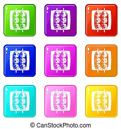 Meat shashlik icons 9 set - Meat shashlik icons of 9 color...