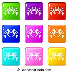 Snow crab icons 9 set - Snow crab icons of 9 color set...
