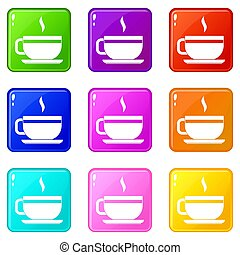 Tea cup and saucer icons 9 set - Tea cup and saucer icons of...