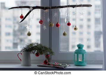 Christmas decorations on a window sill