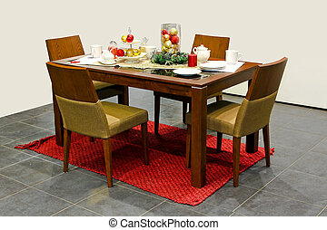 Christmas dining room - Interior of dining room decorated...