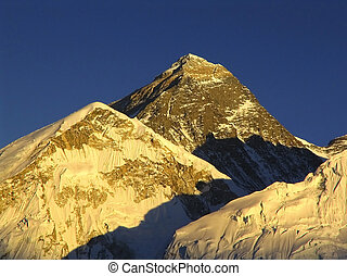 World's heighest mountain, Mt Everest (8850m) and Nuptse to the right in the Himalaya, Nepal.