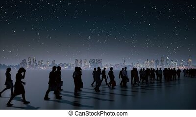 Unrecognizable business people crowd at night city