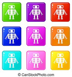 Robot with big eyes icons 9 set - Robot with big eyes icons...