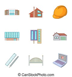 Engineering work icons set, cartoon style