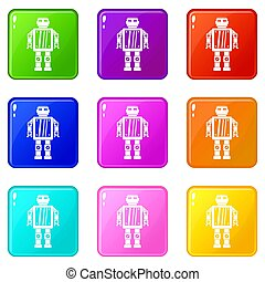 Abstract robot icons 9 set - Abstract robot icons of 9 color...