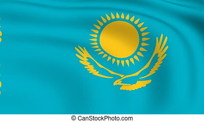 Flying Flag of KAZAKHSTAN | LOOPED |