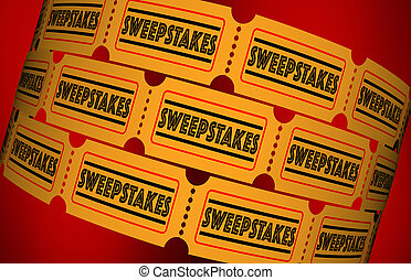 Sweepstakes Contest Raffle Lottery Tickets 3d Illustration