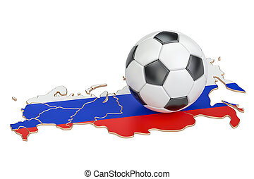 Football ball with map of Russia concept, 3D rendering