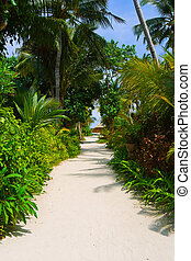 Pathway to bungalow - abstract travel background