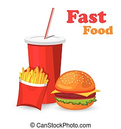 Lunch with french fries, hot dog and soda takeaway on isolated background. Fast food. Flat design. Vector.