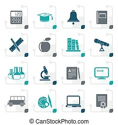 Stylized Education and school objects icons