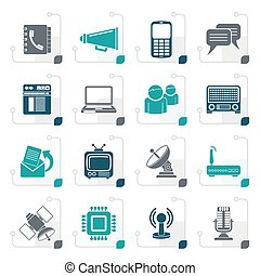 Stylized Communication, connection  and technology icons
