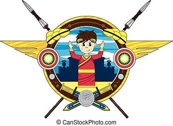 Cartoon Roman Emperor Badge