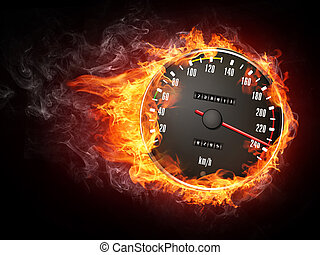 Speedometer in Fire Isolated on Black Background