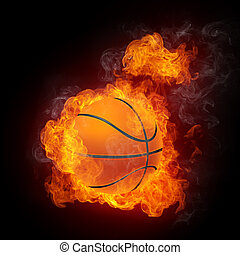 Basketball Ball on Fire 2D Graphics Computer Design