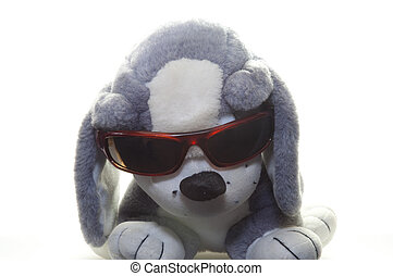plush dog with glasses - plush dog with sunglasses on white...