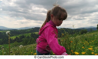 Child playing on a flowering lawn against the backdrop of the Carpathian Mountains