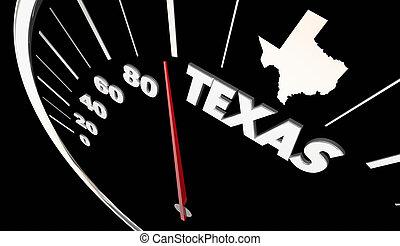 Texas TX State Speedometer Destination Best Location 3d...