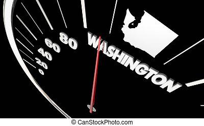 Washington WA State Speedometer Destination Best Location 3d Illustration