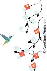 floral humming bird - vector floral background with...