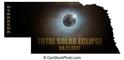 Total Solar Eclipse in Nebraska Map Outline