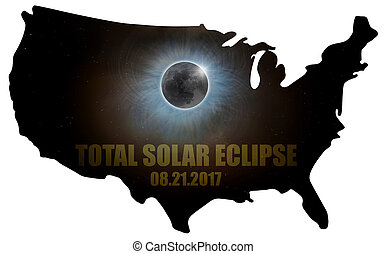Total Solar Eclipse in United States Map Outline - Total...