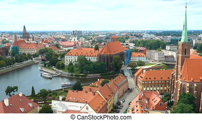 aerial view of famous polish city Wroclaw