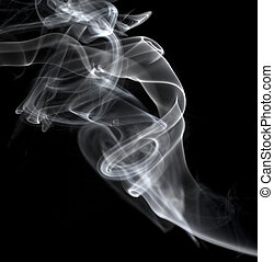 white smoke drifting up against a black background - smoke...
