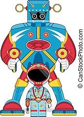 Cartoon Spaceman and Robot
