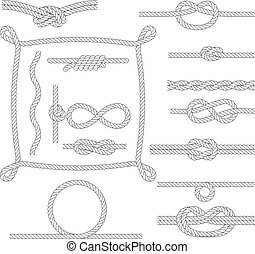 Figured rope frames, knots, borders and corners