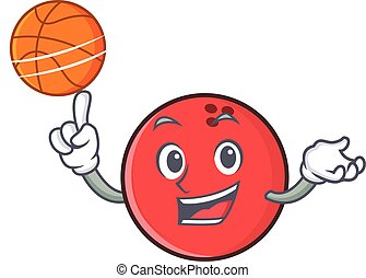 bowling ball character cartoon playing basketball