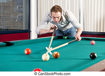 Pool player - Man, playing pool and using a mechanical...