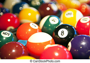 pool balls - Colorful pool balls with selective focus