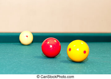 Carom - Three billiard balls, used for caroms or carambole...