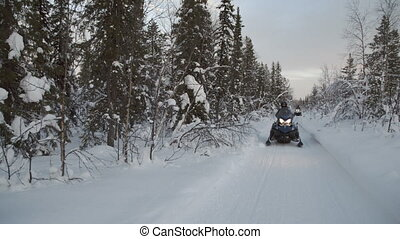 People riding snowmobiles through a snowy alpine forest.