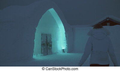 Person walking into an ice house