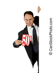 Man, fifty percent discount sign - Attractive middle aged...