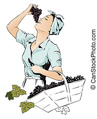 Beautiful young woman collects and eats grapes. People in retro style.