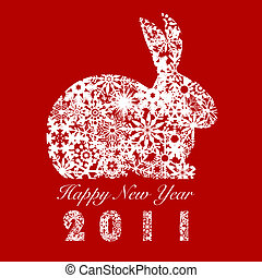 2011 Bunny Rabbit with Snowflakes - 2011 Year of the Rabbit...