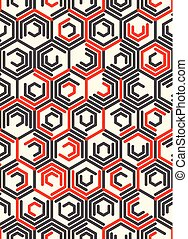 Seamless Hexagon Pattern. Vector Trendy Chaotic Background....