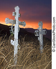 pioneer sunset - a pair of markers at sunset on Kodiak...