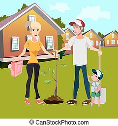 Happy family planting trees in courtyard