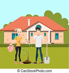 Man and girl plant tree in courtyard. Vector illustration