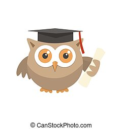 Owl graduate with a hat on a white background