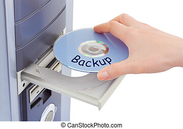 Hand and computer disk backup isolated on white background