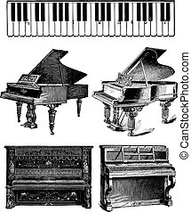 Vector Vintage Pianos - Set of detailed vector old-fashioned...